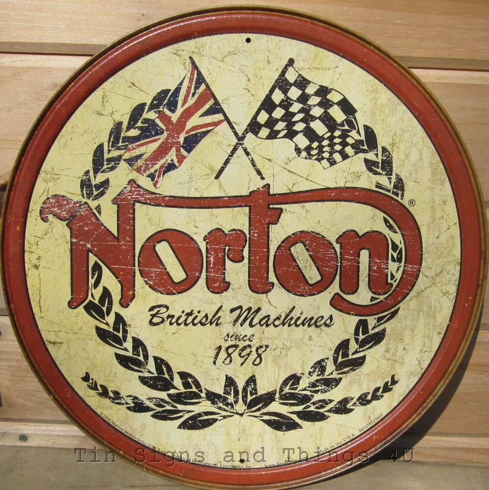 Garage Signs Decor : Norton round tin sign british motorcycles vtg metal wall