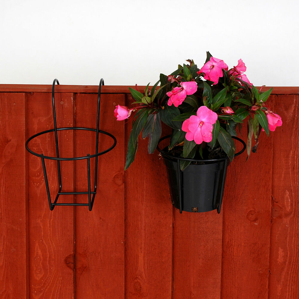 Garden fence metal plant pot holders easy fill black - Flower pots to hang on fence ...