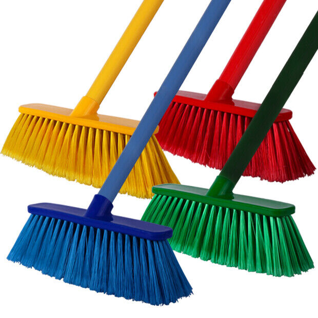 3 X Soft Bristle Sweeping Brush Cleaning Broom And Strong