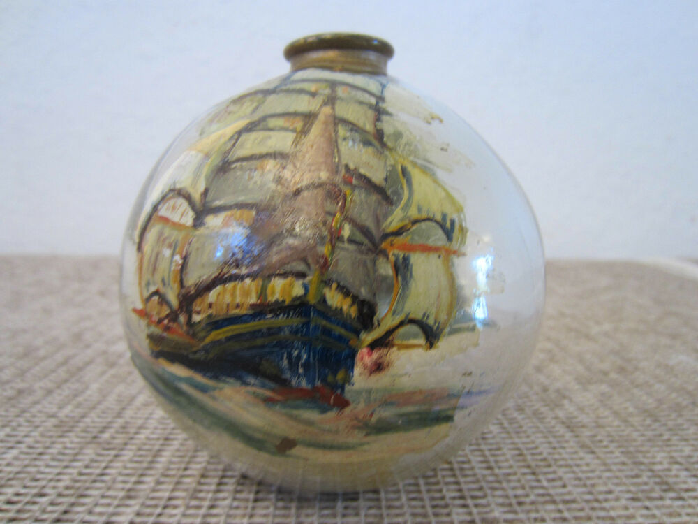 Tall ship hand painted glass fish net float ebay for Painted glass fish