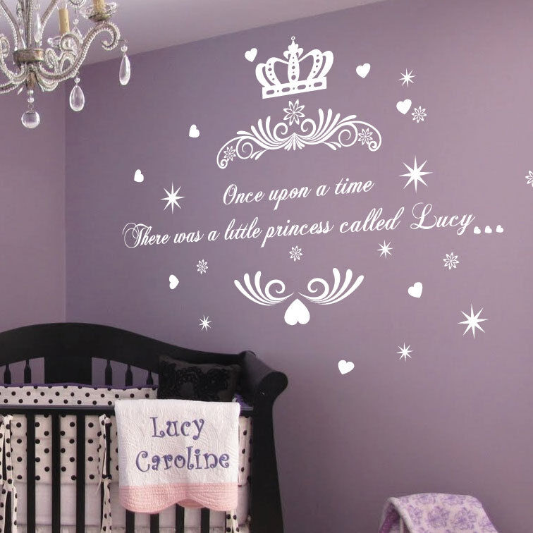 personalised once upon a time princess name art wall princess wall art stickers p wall decal