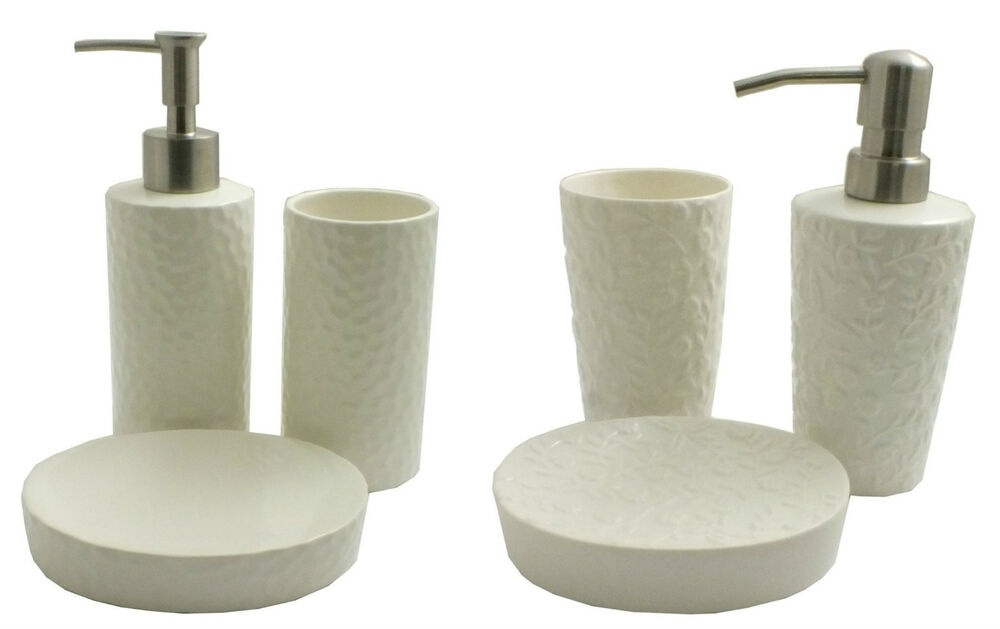 3 piece bathroom accessory set soap dish lotion dispenser tumbler ebay - Bathroom soap dish sets ...