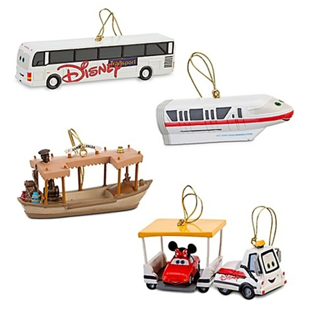 New disney parks transportation monorail bus tram christmas ornament 4