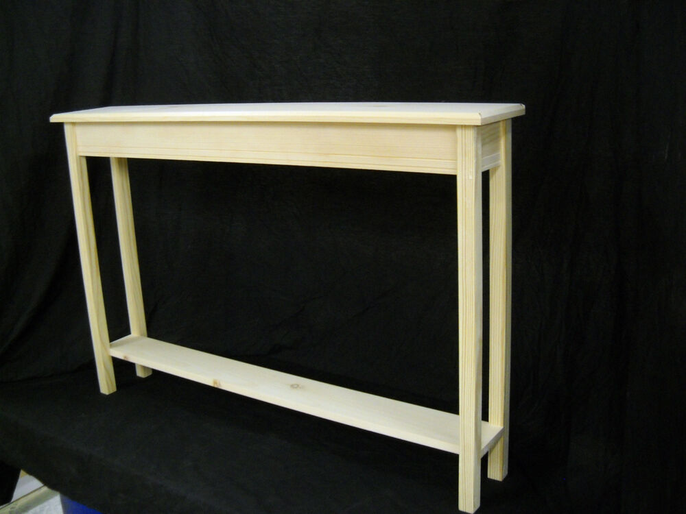 Unfinished 46 narrow console sofa foyer beveled edge for Entry wall table