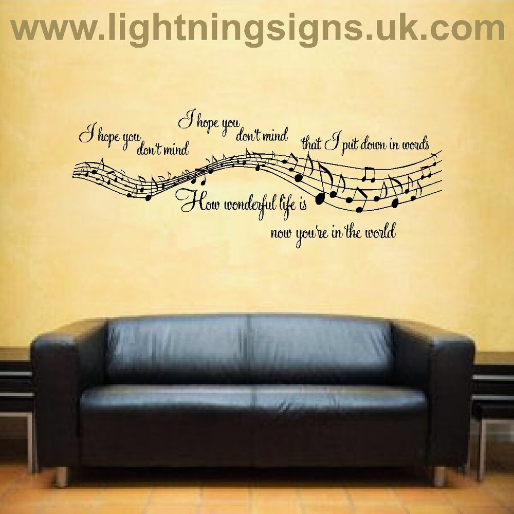 elton john ellie goulding your song music lyrics notes aerosmith wall sticker ebay