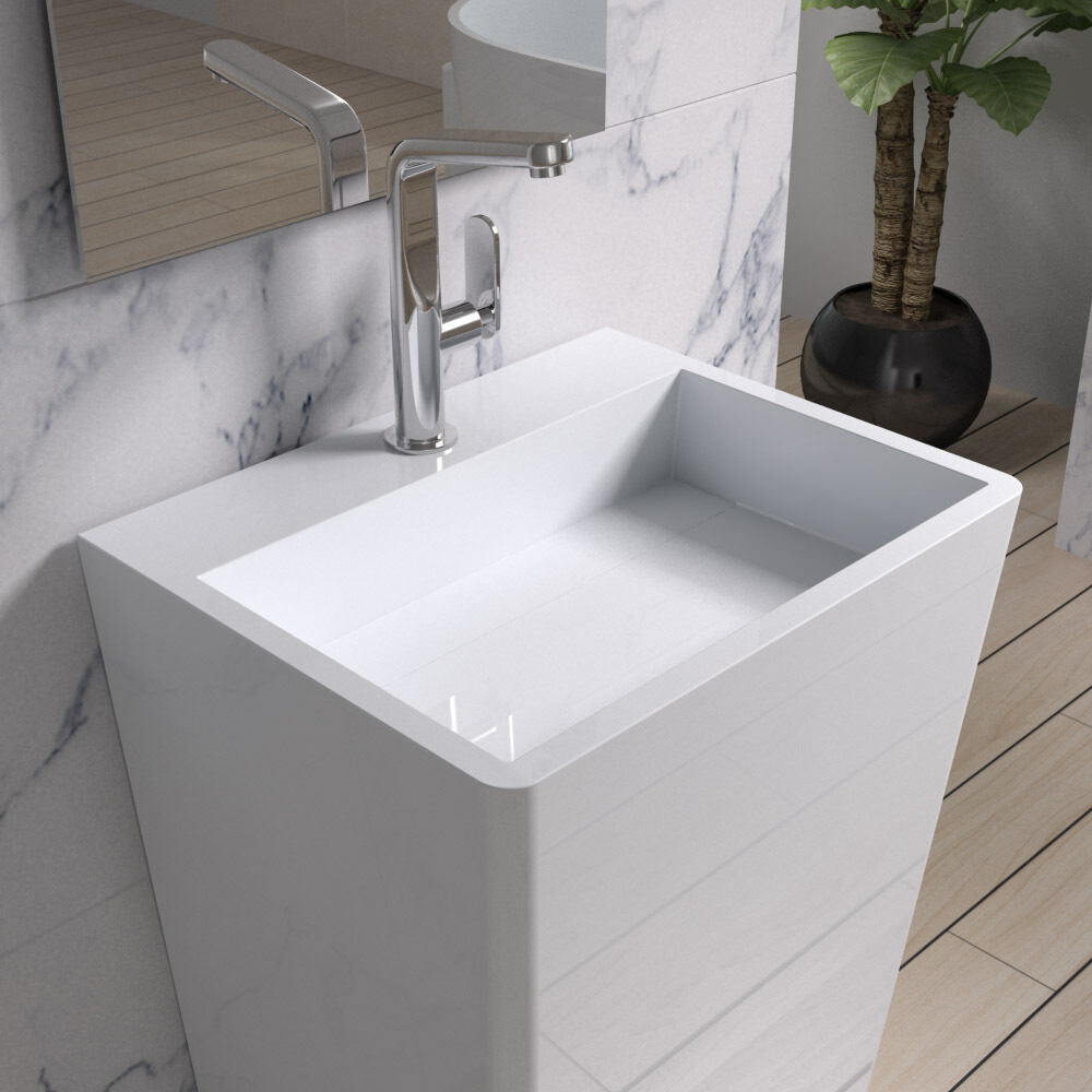 Solid Stone Sink : Free Standing Solid Surface Stone Modern Pedestal Sink 33 x 17 inch ...