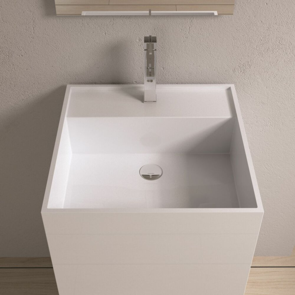 Solid Stone Sink : Free Standing Solid Surface Stone Modern Pedestal Sink 19 x 19 inch ...