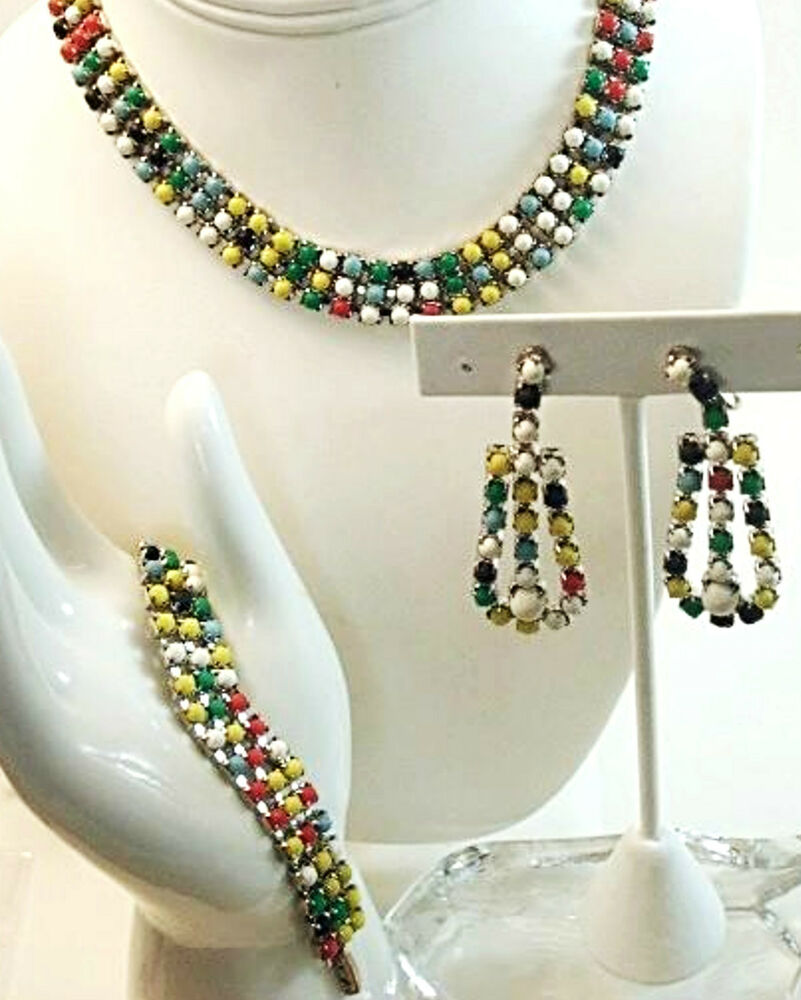 Vintage Costume Jewelry Glass Cabochon Necklace Earrings