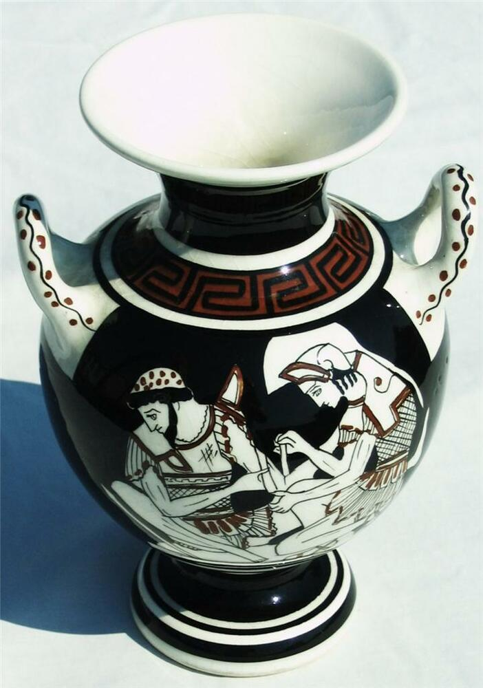 Authentic Vintage Greek Art Vase From Athens Greece Hand Made Amp Hand Painted Ebay
