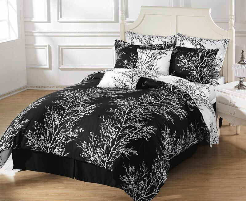 8pcs reversible black white tree bed in a bag comforter with sheet set full size ebay. Black Bedroom Furniture Sets. Home Design Ideas