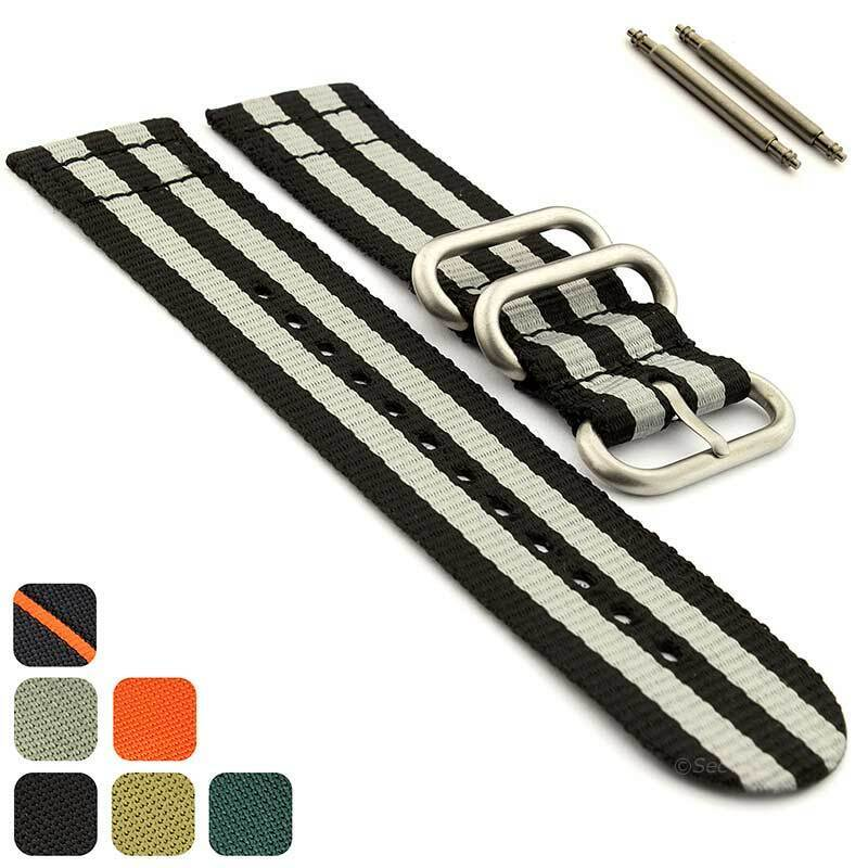 Mens Two-piece Military Nylon Watch Band Strap Divers 18mm