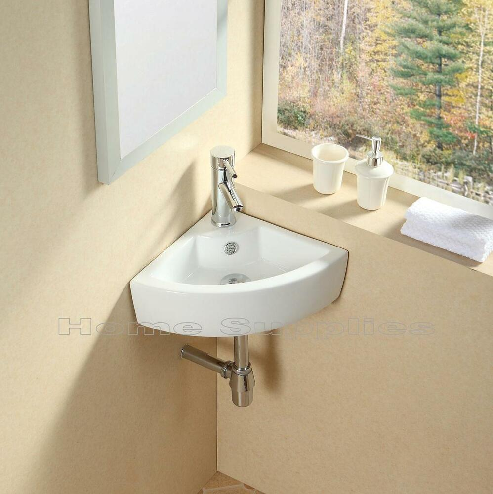 BATHROOM CLOAKROOM WALL HUNG CORNER BASIN SINK HS07