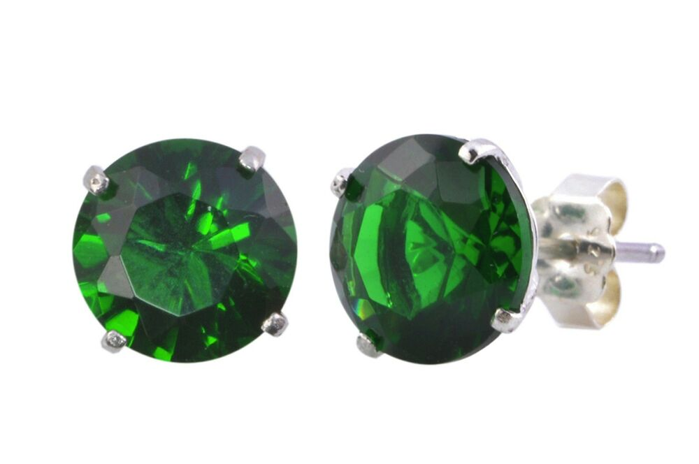 Emerald Stud Earrings 925 Silver Cz May Birthstone Round