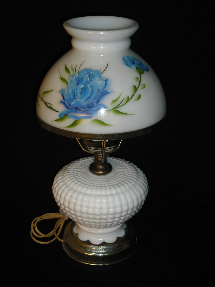 Antique Hand Painted Milk Glass Lamp Ebay