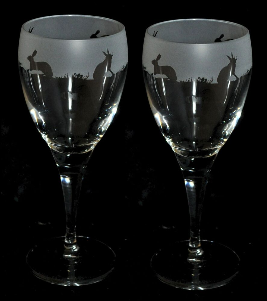 Hare Gift Boxed Pair Wine Glass With Engraved Hare