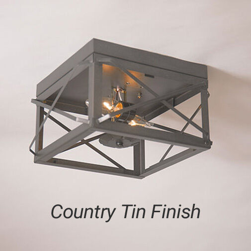 Double Ceiling Light W/ Folded Bars In Tin