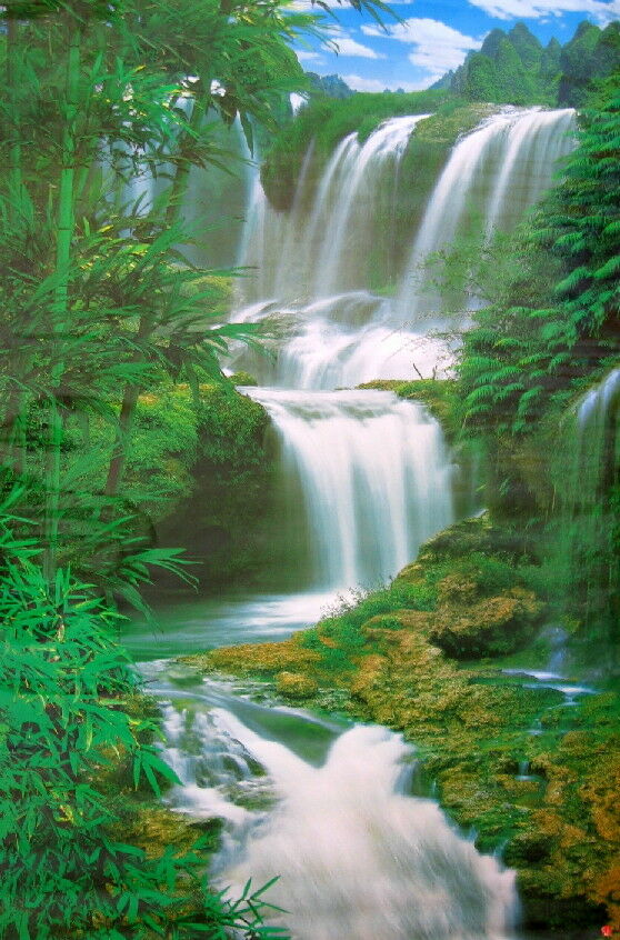 new 5 ft forest waterfall poster wall mural wall decor ebay. Black Bedroom Furniture Sets. Home Design Ideas
