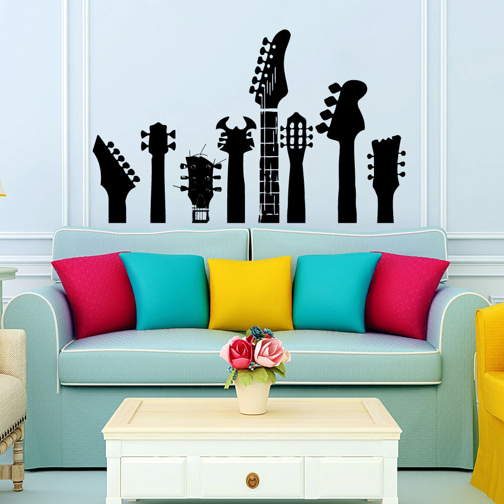 Wall decals guitar necks decal fingerboard vinyl sticker Boys wall decor