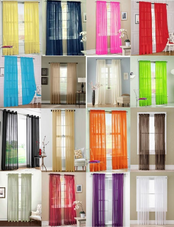 """Multi Color String Curtain Fringe Panel Room Divider: 2 Pc Sheer Voile Window Panel Curtains DRAPE 63"""" , 84 , 95"""