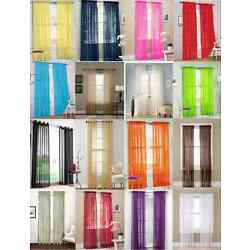 2Pc Sheer Voile Window Panel curtains DRAPE 63'' ,84 ,95'' or 1Pc SCARF MANY COLOR