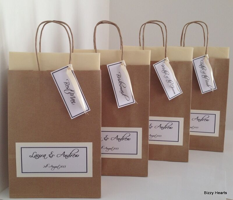 Personalised Wedding Gift Bags Uk : BROWN LUXURY PERSONALISED PAPER WEDDING FAVOUR PARTY GIFT BAG eBay