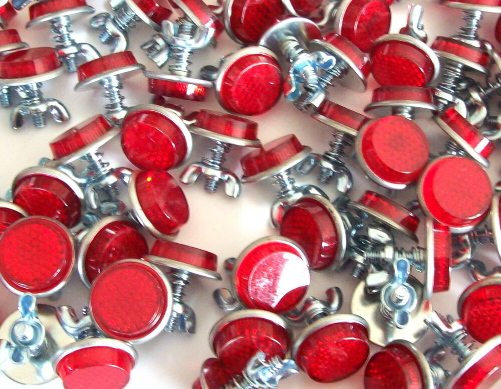20 Red Mini Reflectors License Plate Motorcycle Bike Car