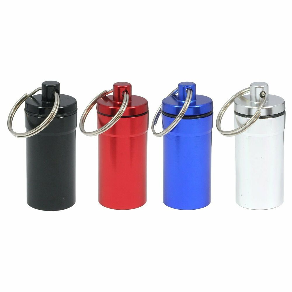 4pc medium pill containers w key chain water resistant ebay for Prescription bottle holder