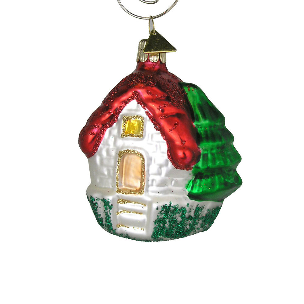 House with red roof christmas tree ornament handblown for Holiday christmas ornaments