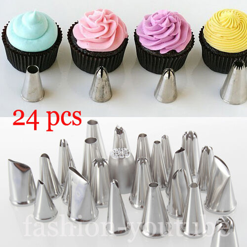 Types Of Cake Decorating Nozzles : 24pcs Cake Icing Piping Nozzles Pastry Tips Cookies ...