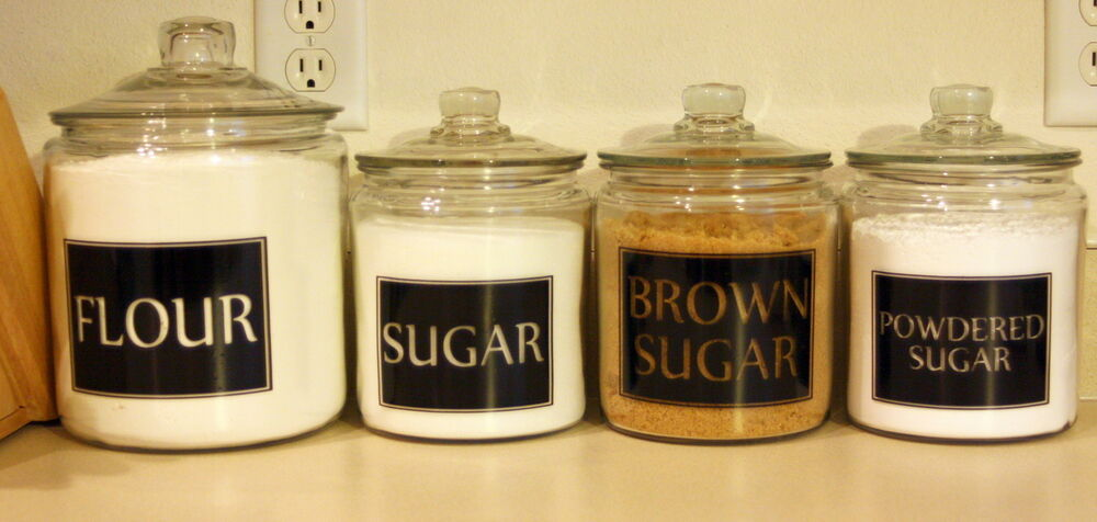 kitchen canister labels 4 square personalized kitchen canister jar labels vinyl decals ebay 7628