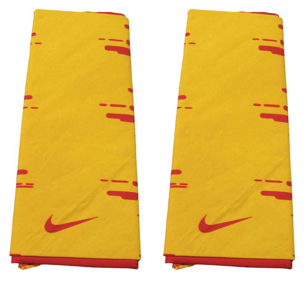 2 Authentic Nike Cotton Bandanas Yellow Red Ebay