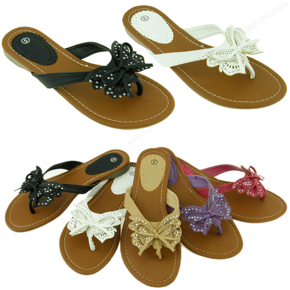 Womens Fashion Flip Flop Sandals Cute Butterfly Flower Thongs Flats Sandal Style Ebay