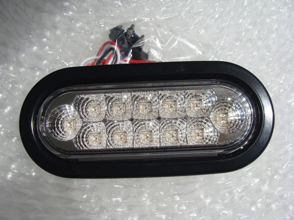 Custom Boat Headlights : Quot clear with red led s tail lights for custom bumper stop
