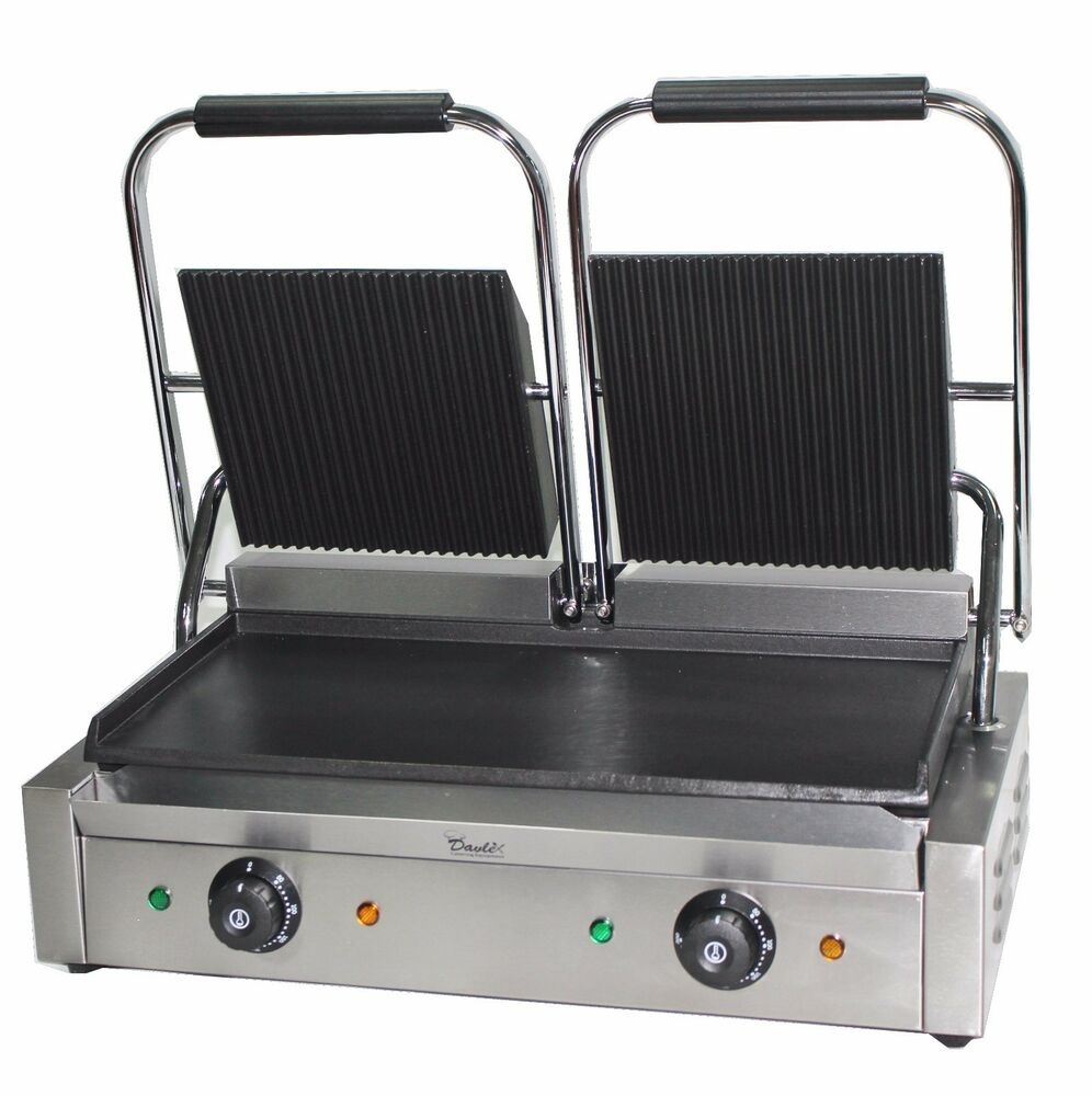 double panini press machine electric commercial twin contact grill pannini maker ebay. Black Bedroom Furniture Sets. Home Design Ideas