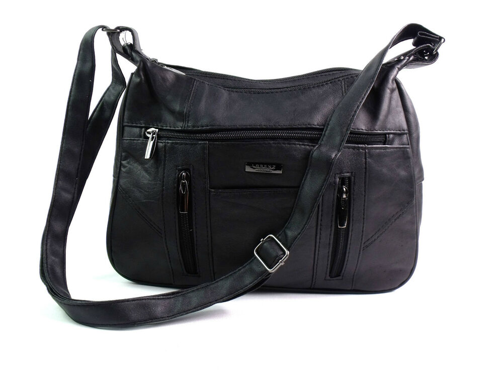 LADIES QUALITY REAL LEATHER CROSSOVER BODY SHOULDER BAG ...