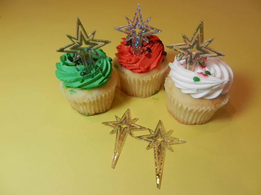 12 Gold Star Glitter Pick Christmas Cupcake Toppers Cake ...