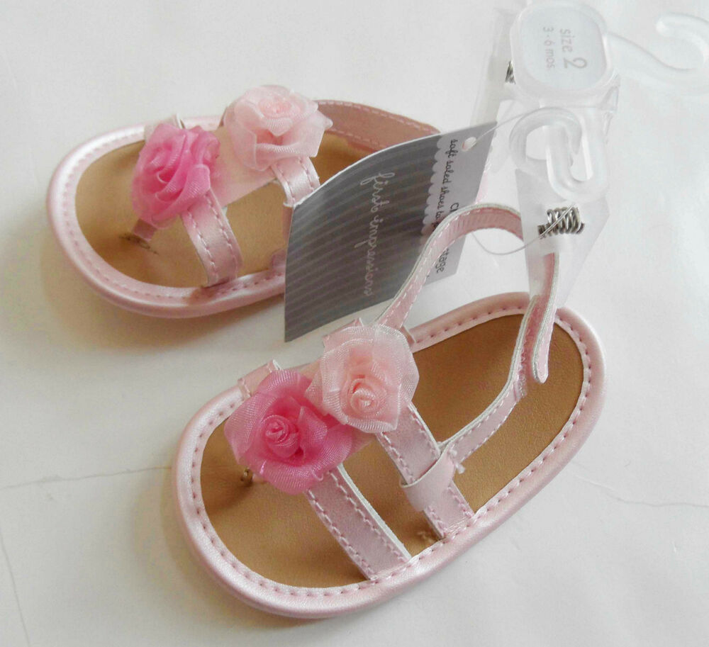 new FIRST IMPRESSIONS baby girls shoes size 2 PINK SANDALS