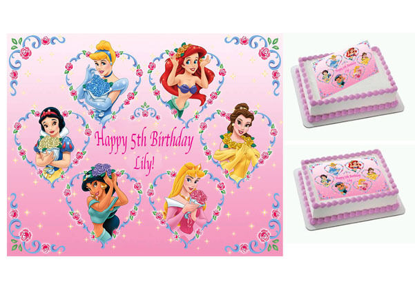 Disney Princess Personalised x1 Edible Cake Topper Icing ...