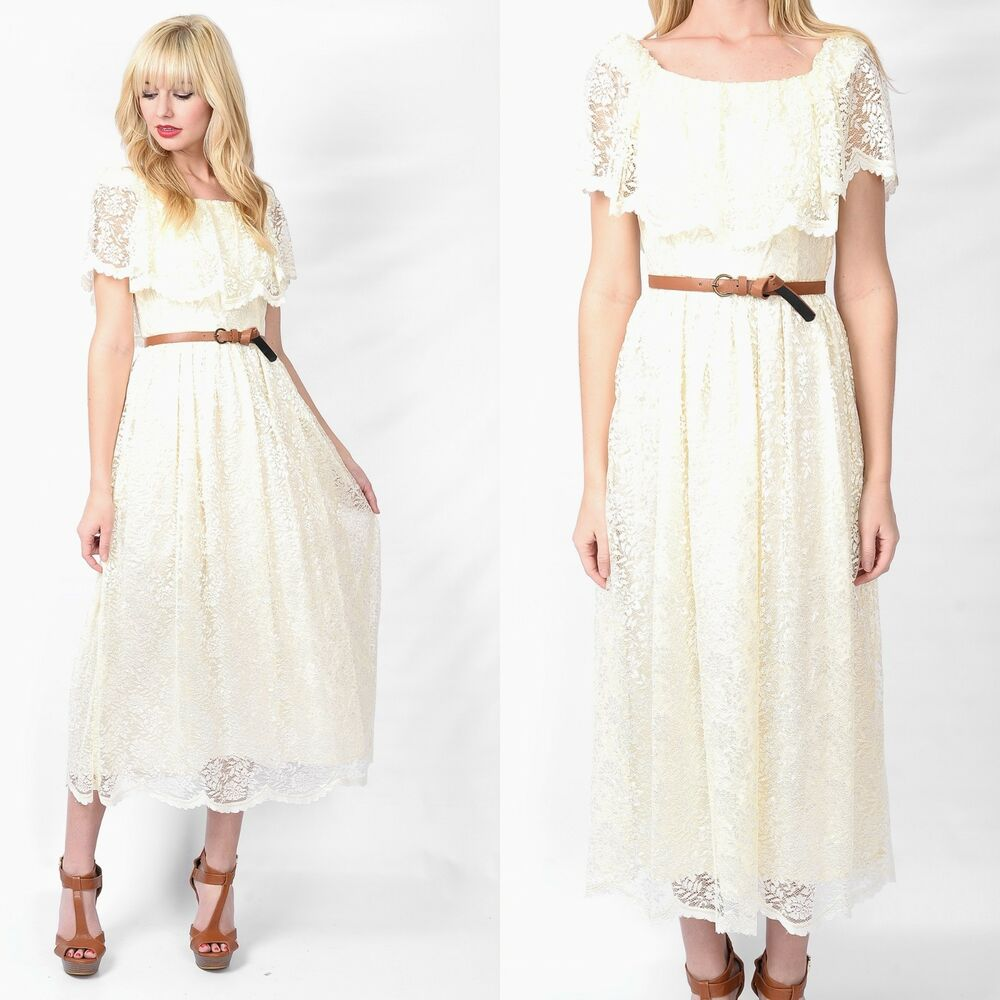 Vintage Wedding Dresses 80s: Vintage 70s 80s Cream Dress Hippie Wedding Scalloped