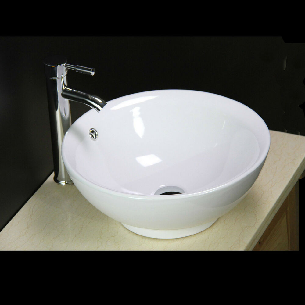 Round Bathroom Sink Bowls : Basin Sink Bowl Countertop Ceramic Bathroom Art Cloakroom Free New Tap ...