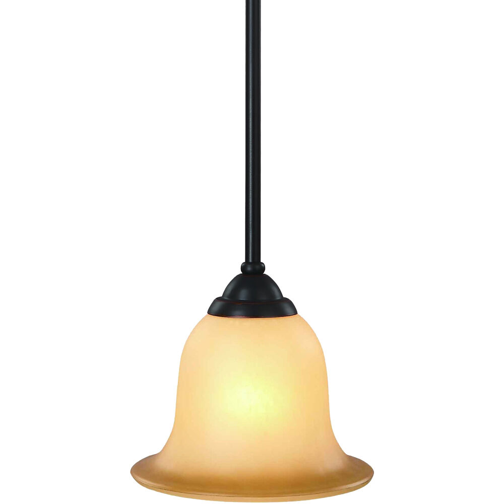 Oil Rubbed Bronze 1 Light Flush Mount Mini-Pendant Light