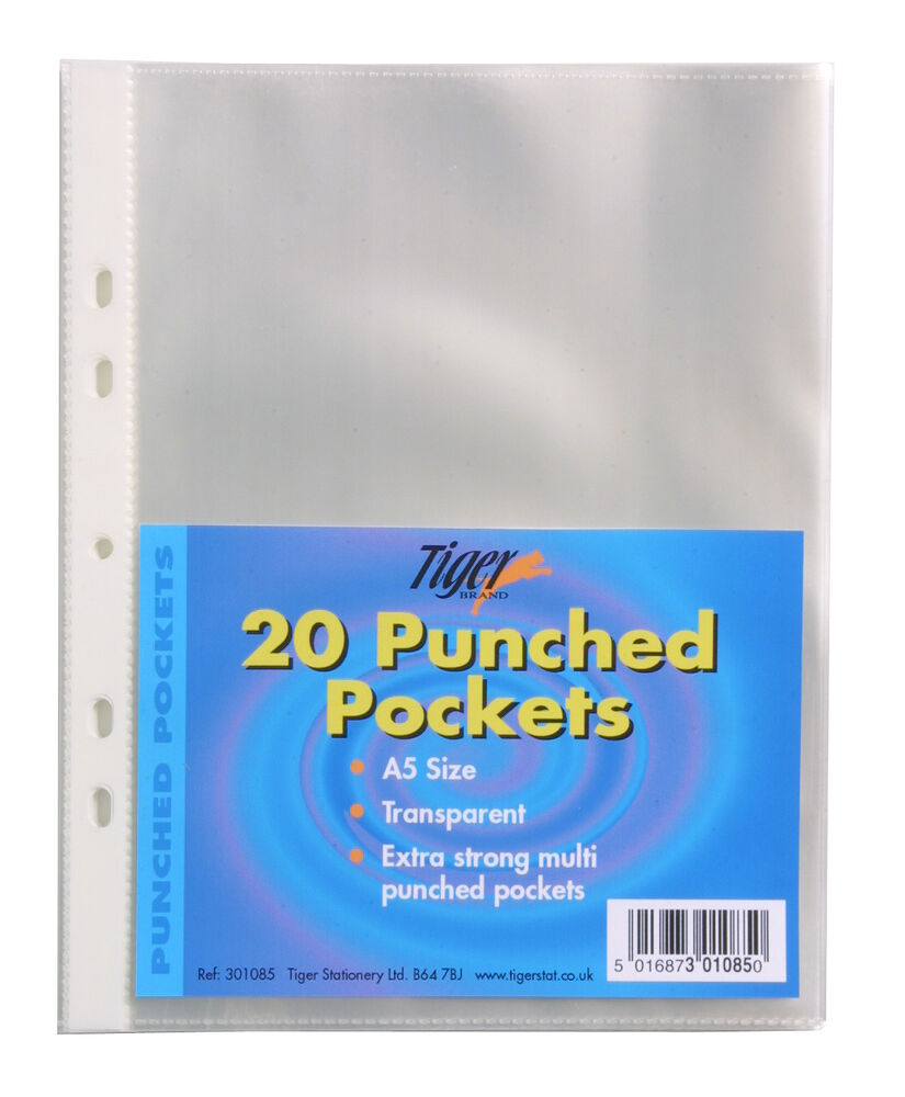 20 A5 Punched Pockets Poly Plastic Glass Clear File