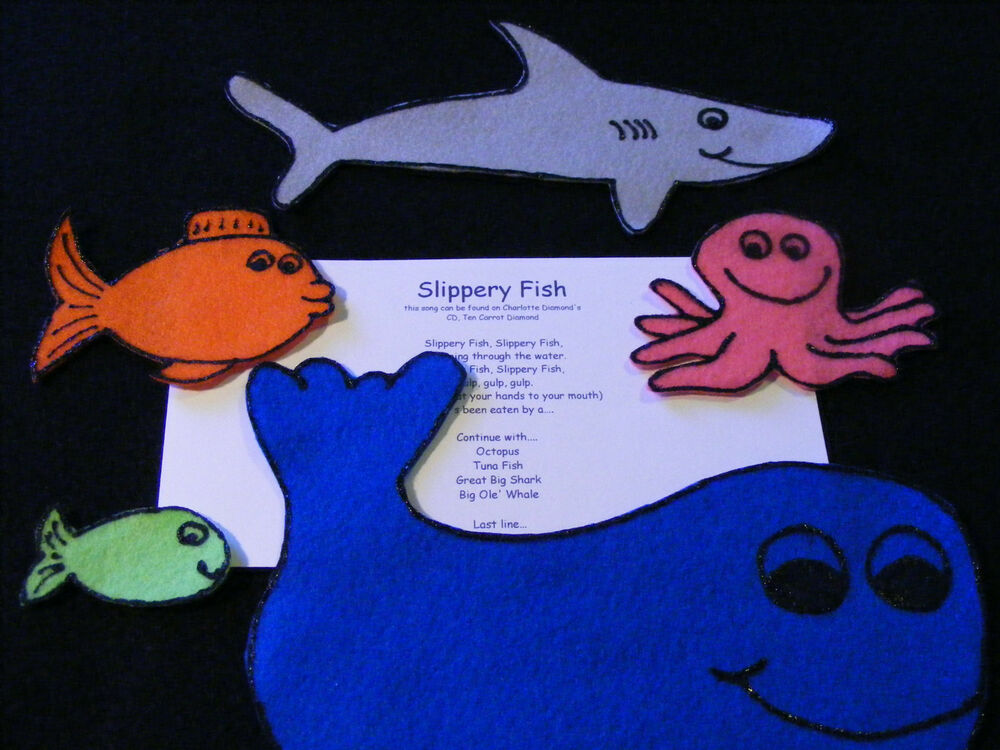 Felt flannel board story slippery fish preschool circle for Felt storyboard templates