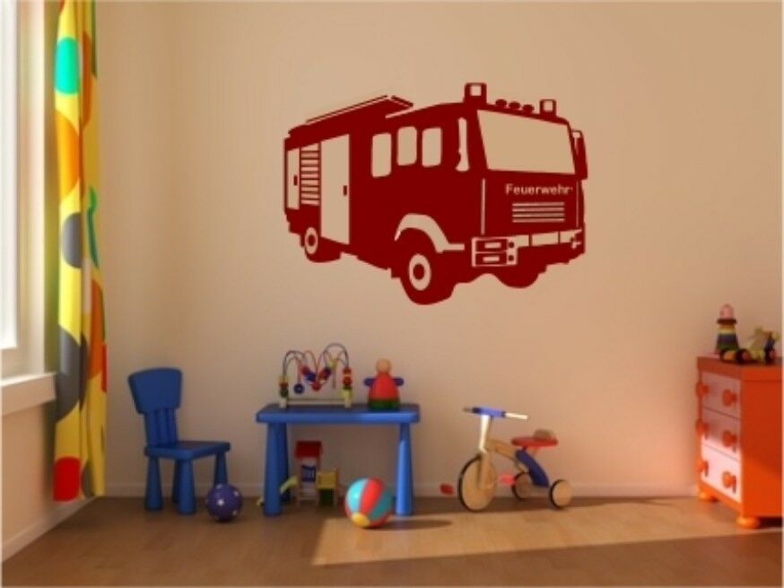 wandtattoo feuerwehr wagen auto kinderzimmer wanduafkleber genial toll neu ebay. Black Bedroom Furniture Sets. Home Design Ideas