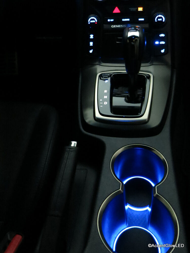 led cup holder lights blue lights fits 2010 2012 hyundai genesis coupe ebay. Black Bedroom Furniture Sets. Home Design Ideas