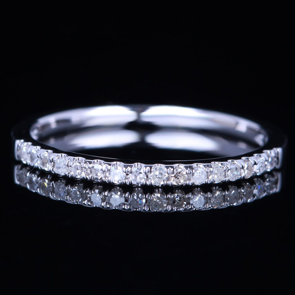 wedding band rings 1 4mm wide pave solid 18k white gold vs half 8422
