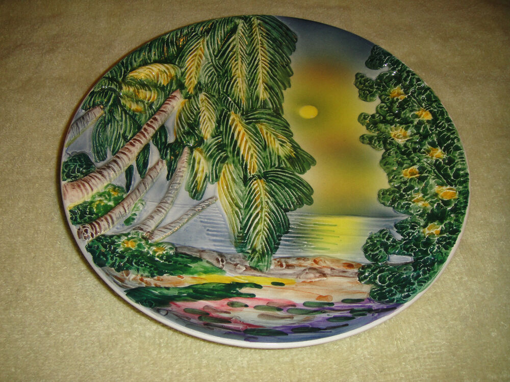 royal palm vintage vintage royal baden plate west germany raised palm trees 2022