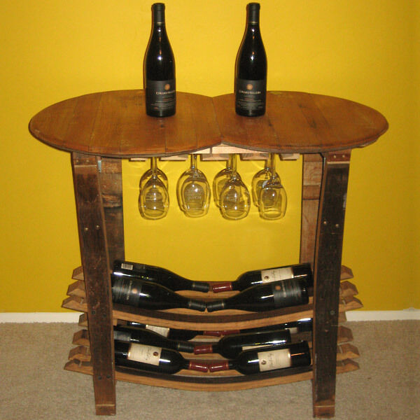 Handmade Wooden Barrel Wine Tasting Table Bottle & Glass
