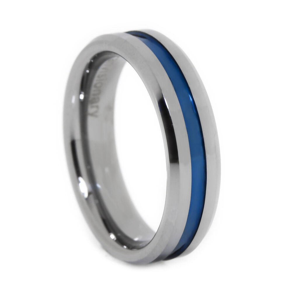 thin blue line ring tungsten carbide blue ip 6mm flat. Black Bedroom Furniture Sets. Home Design Ideas