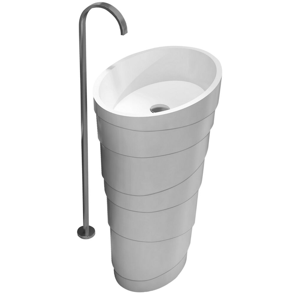 Free Standing Solid Surface Stone Modern Pedestal Sink 24 x 16 inch ...